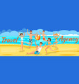 happy friends playing ball on beach vector image vector image