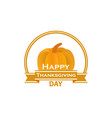 happy thanksgiving day pumpkin and ribbon vector image vector image