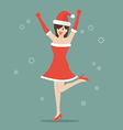 Happy woman in Santa Claus clothes vector image vector image