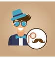 hipster character monocle and mustache vintage vector image vector image