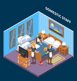 household staff isometric composition vector image vector image