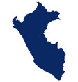 map peru in blue colour vector image vector image