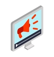 Megaphone on pc screen icon isometric 3d style vector image vector image