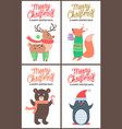merry christmas promo posters vector image vector image
