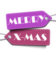 merry x-mas tags isolated on white background vector image