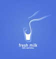 milk bottle and glass logo on blue background vector image