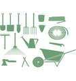 monochrome garden tools vector image