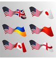 national waving flags usa japan united vector image
