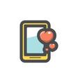 phone hearts likes icon cartoon vector image