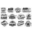 pilot courses and flight tours icons set