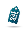 sale 80 off tag label on white background vector image