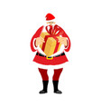 santa claus and gift box christmas and new year vector image vector image