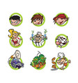 set cartoon characters a flat style image vector image vector image