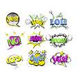 set of cartoon pop art comic vector image vector image