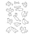 set variety of abstract birds simple line design vector image
