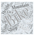 Sizing Mountain Bikes Word Cloud Concept vector image vector image