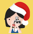 small girl is taking photo with red hat vector image vector image