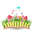 Spring with grass and flowering in the book vector image vector image
