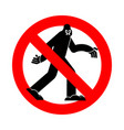 stop bigfoot ban yeti red prohibition road sign vector image vector image