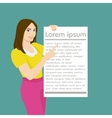 The girl holding a white empty sheet of paper vector image vector image