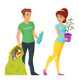 two characters volunteers man and woman vector image vector image
