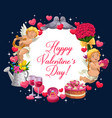 valentines day cupids hearts ring and flowers vector image vector image