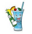 with beer blue hawaii mascot cartoon vector image vector image