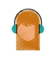 young woman avatar character with headphone vector image vector image
