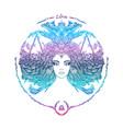 zodiac sign portrait a woman libra vector image vector image