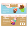 cupcakes and muffin flyers design vector image