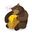 happy bear hugs wooden barrel of honey cartoon vector image