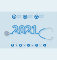 2021 new year creative design with stethoscope vector image vector image