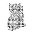 abstract schematic map of ghana from the black vector image vector image