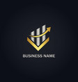 arrow business finance gold logo vector image vector image