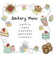 bakery doodle menu bakery white vector image vector image