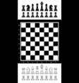 black and white chess set with chess board vector image