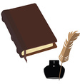 Brown book and inkwell vector image