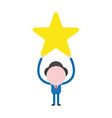 businessman character holding up yellow star vector image vector image