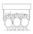 cartoon group angry overweight or fat men vector image