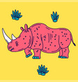 cartoon mascot rhinoceros isolated vector image vector image