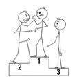 cartoon of three man on sport winners podium two vector image vector image