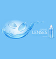 contact lenses and solution bottle mock up banner vector image vector image