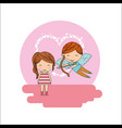 cupid boy and little girl valentine card heart vector image vector image