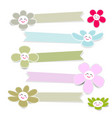cute flower paper with ribbon on white background vector image