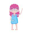 cute little girl happy cartoon character vector image vector image