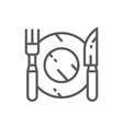 cutlery plate with fork and knife line icon vector image