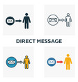 direct message icon set four elements in different vector image vector image