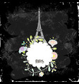 eiffel tower on a black background board vector image vector image