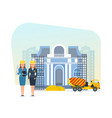 engineers stand on construction site for museum vector image vector image