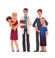 Family doctor with patients father mother and vector image